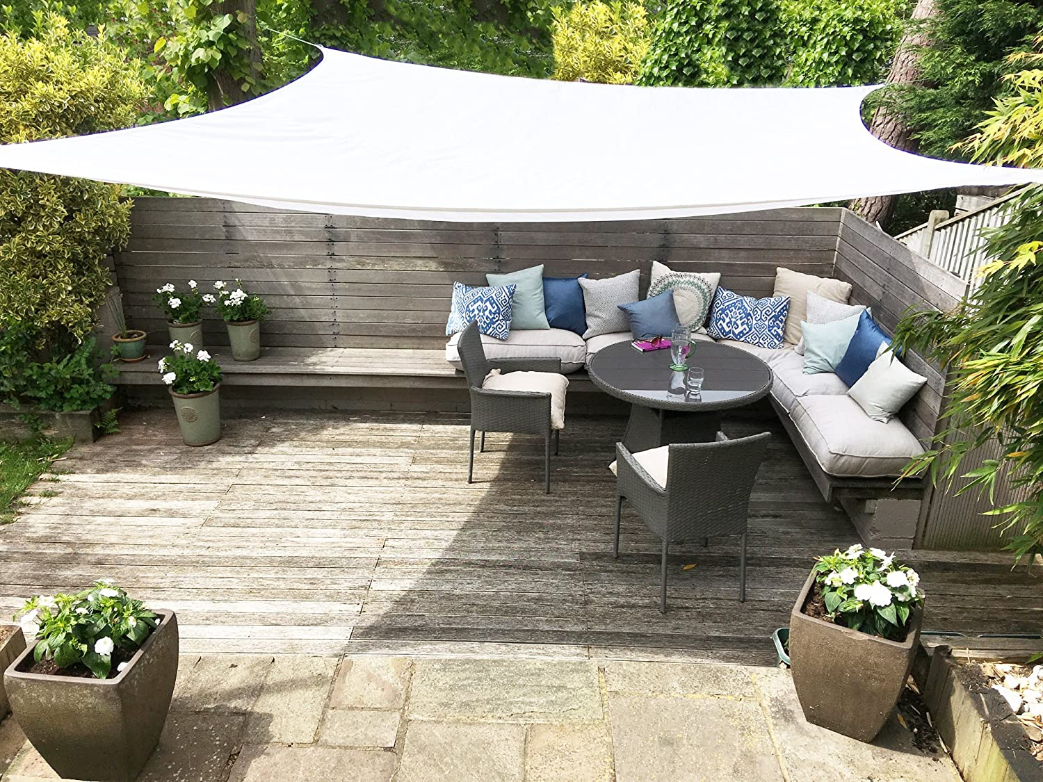 Clara Shade Sail Garden Sun Gazebo Pure White Waterproof 98 Uv