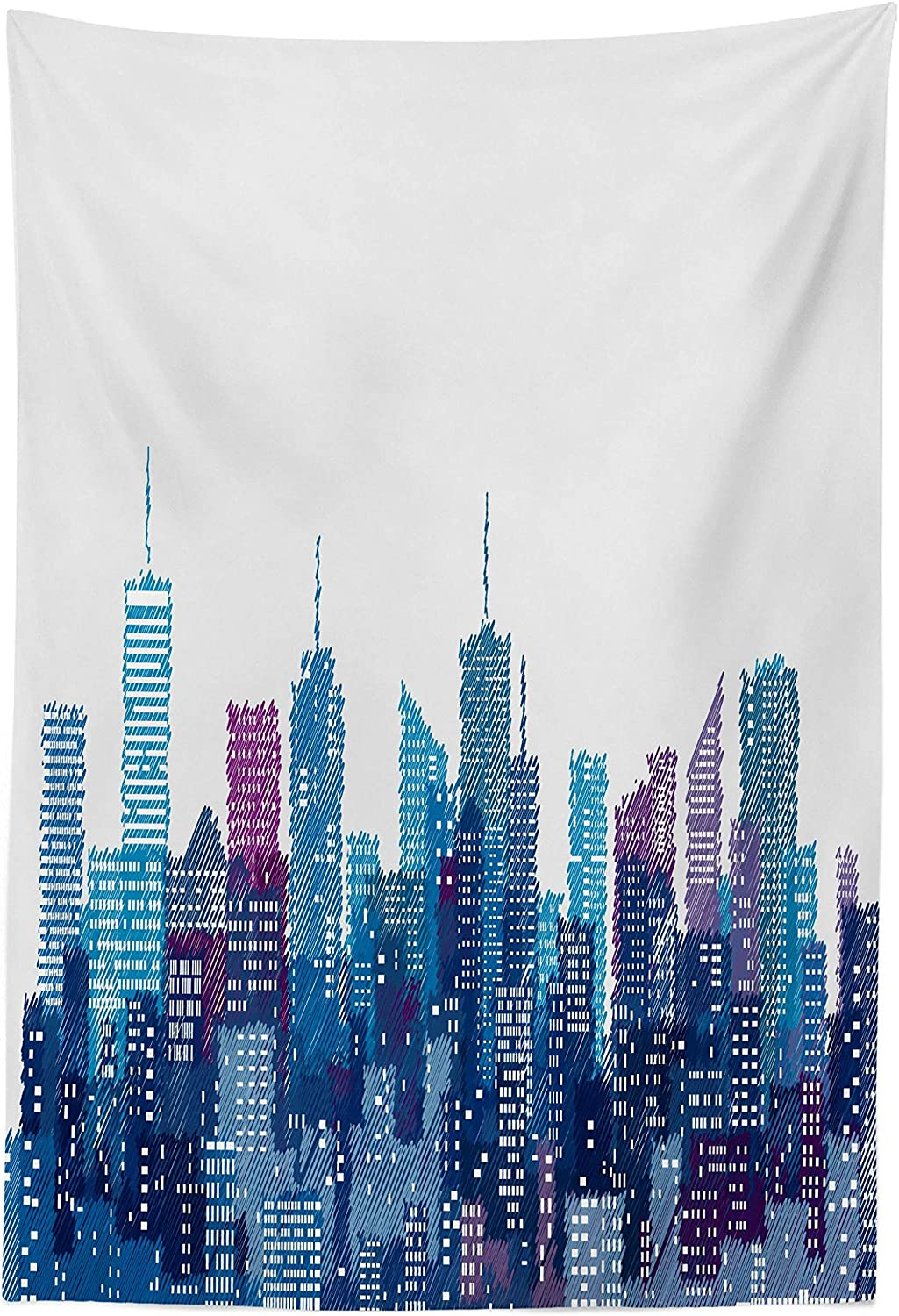 """Lunarable New York Tapestry, Skyline of NYC Manhattan Brooklyn Bronx Queens Scratched Pattern, Fabric Wall Hanging Decor for Bedroom Living Room Dorm, 30"""" X 45"""", Pale Blue"""