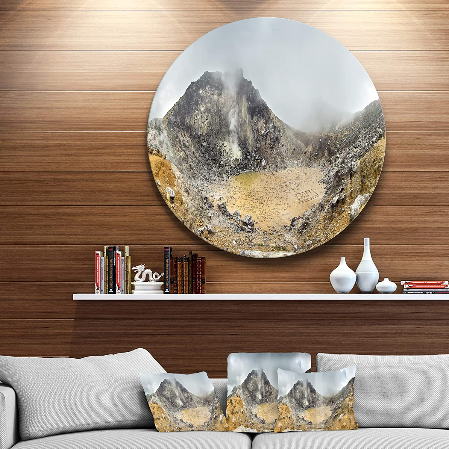 Designart MT11046-C23 Volcano Panorama with Dramatic Sky Landscape Circle Wall Art Disc of 23,Yellow//Orange,23 X 23