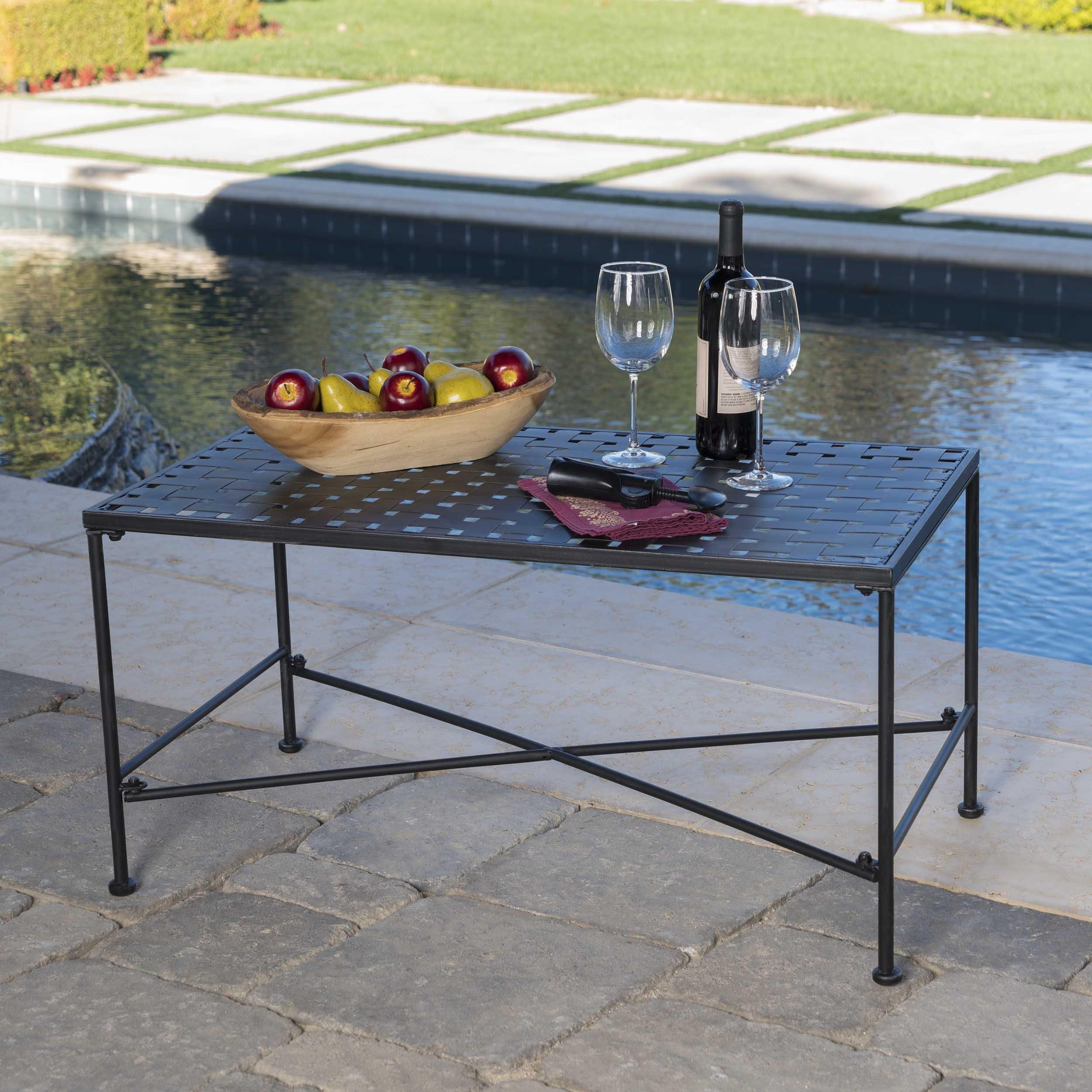 Kent Outdoor Black Iron Coffee Table