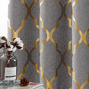 Moroccan Tile Print Textured Linen Panels for Bedroom Room Grommet Flax Linen Blend Curtain Textured Kitchen Window Treatment Set for Living Room 84 inch Silver on Grey Flax
