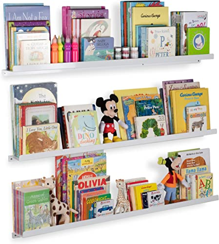 Wallniture Floating Shelves for Nursery and Metal Wall Mount Book Display Ledges Aluminum White 46 Inch Set of 3