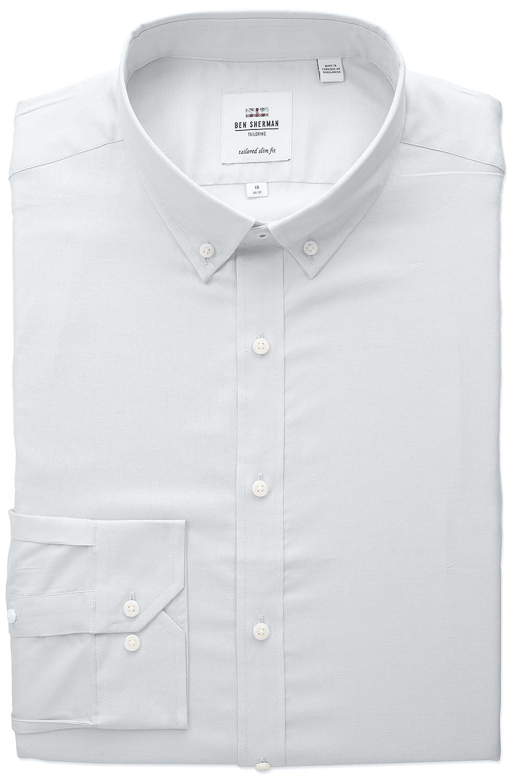 Ben Sherman Mens Slim Fit Oxford Button-Down Collar Dress Shirt LF Mens Dress Shirts