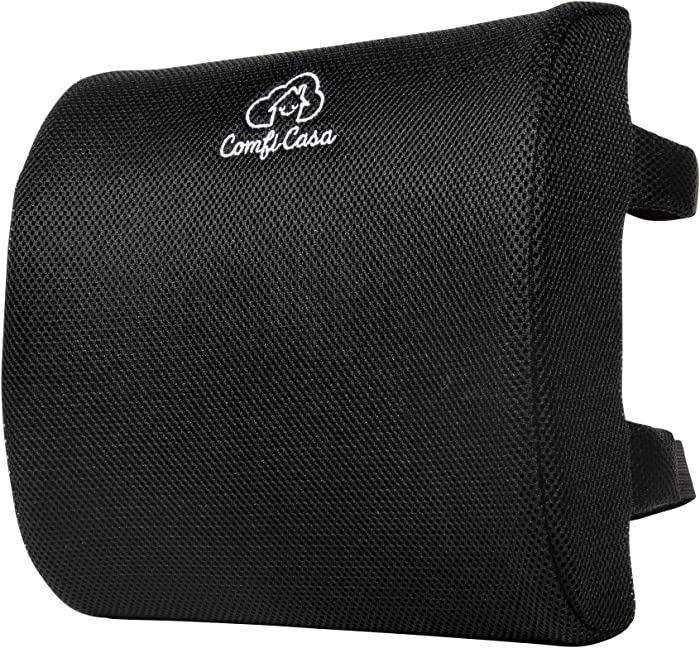 ComfiCasa Memory Foam Lumbar Support for Office Chair - Firm Lumbar Pillow with Breathable Cover for Lower Back Pain Relief - Computer Chair Back Cushion for Office, Car Seat, Couch, Bed or Plane