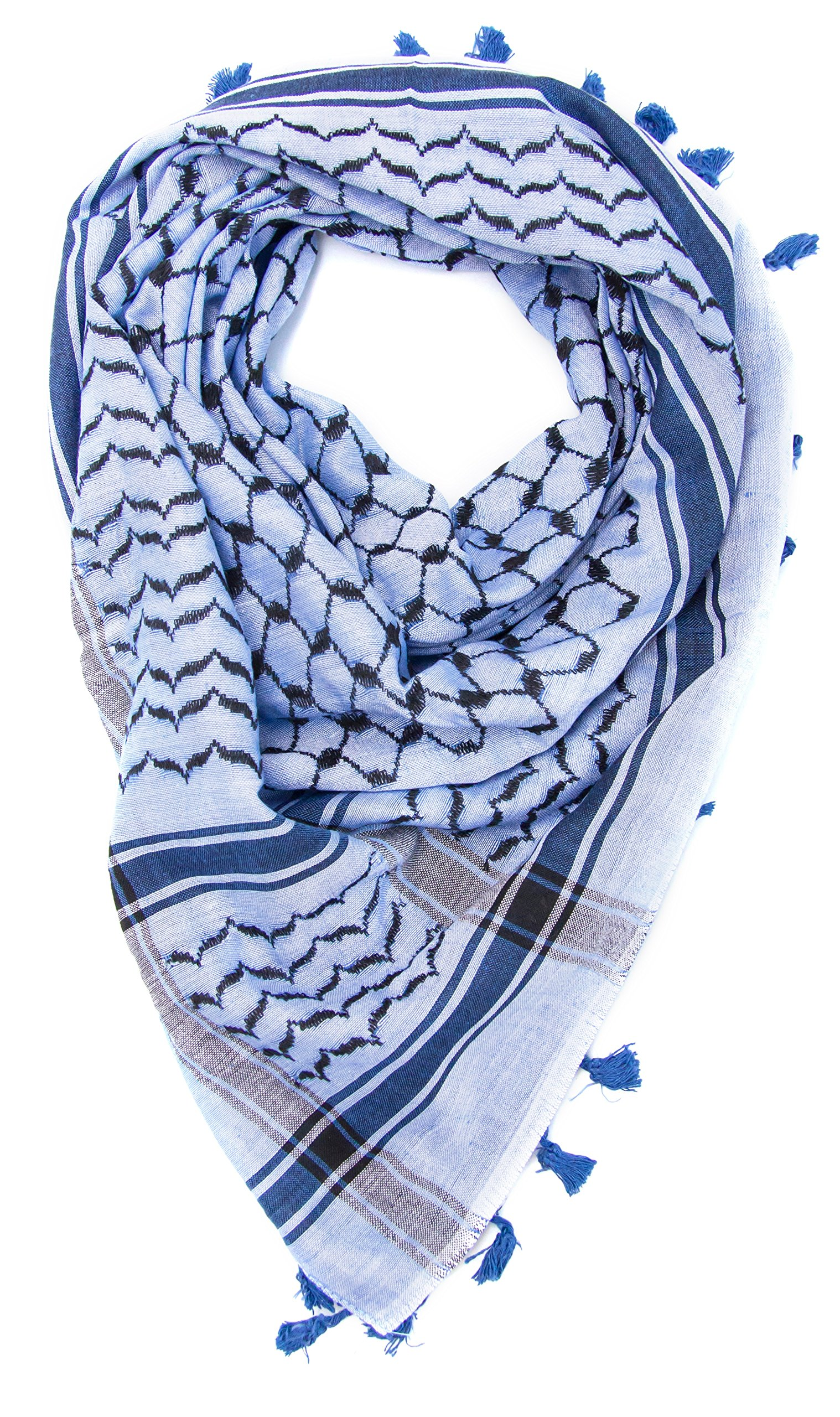 Hirbawi Premium Arabic Scarf 100% Cotton Shemagh Keffiyeh 47''x47'' Arab Scarf (Traditional Blue)