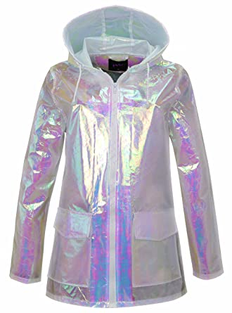 New Womens Holographic Hooded Lightweight Neon Festival Kagool Raincoat Jacket