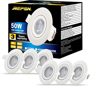 Repsn Led 5w Small Recessed Downlights Recessed Ceiling Lights 5w 50w Equivalent 550lm 4000 4500k Natural White 30 Rotatable Downlight Cut Size 52mm Pack Of 6 Amazon Co Uk Lighting