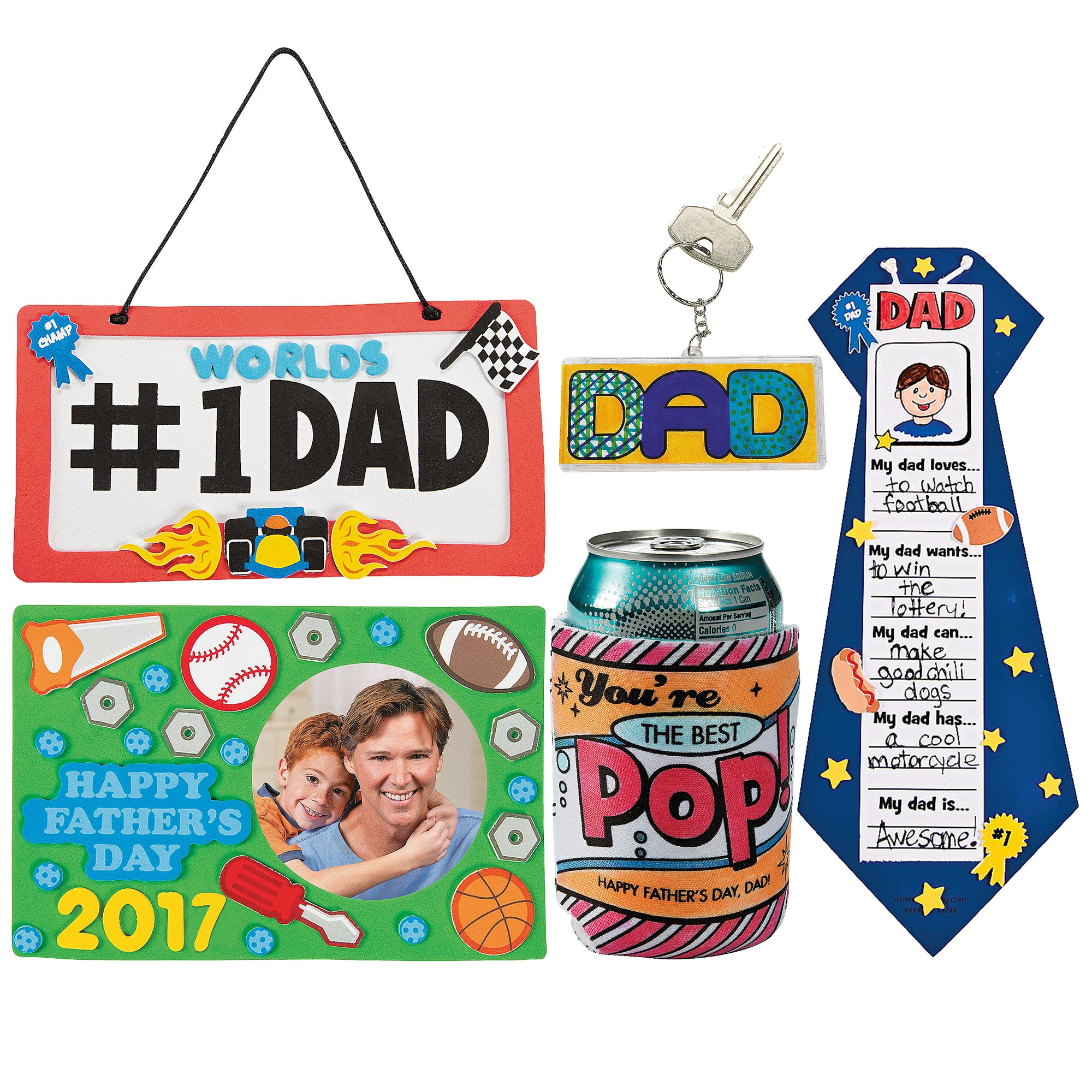 Fathers Day DIY Craft Kit; 1 Dated Picture Frame Magnet, 1 Dad License Plate Sign, 1 All About My Dad Tie Craft, 1 ''Best Pop'' Color Your Own Can Coolers, Beaded #1 Dad Tool Key Chain Kit | Boy Girls