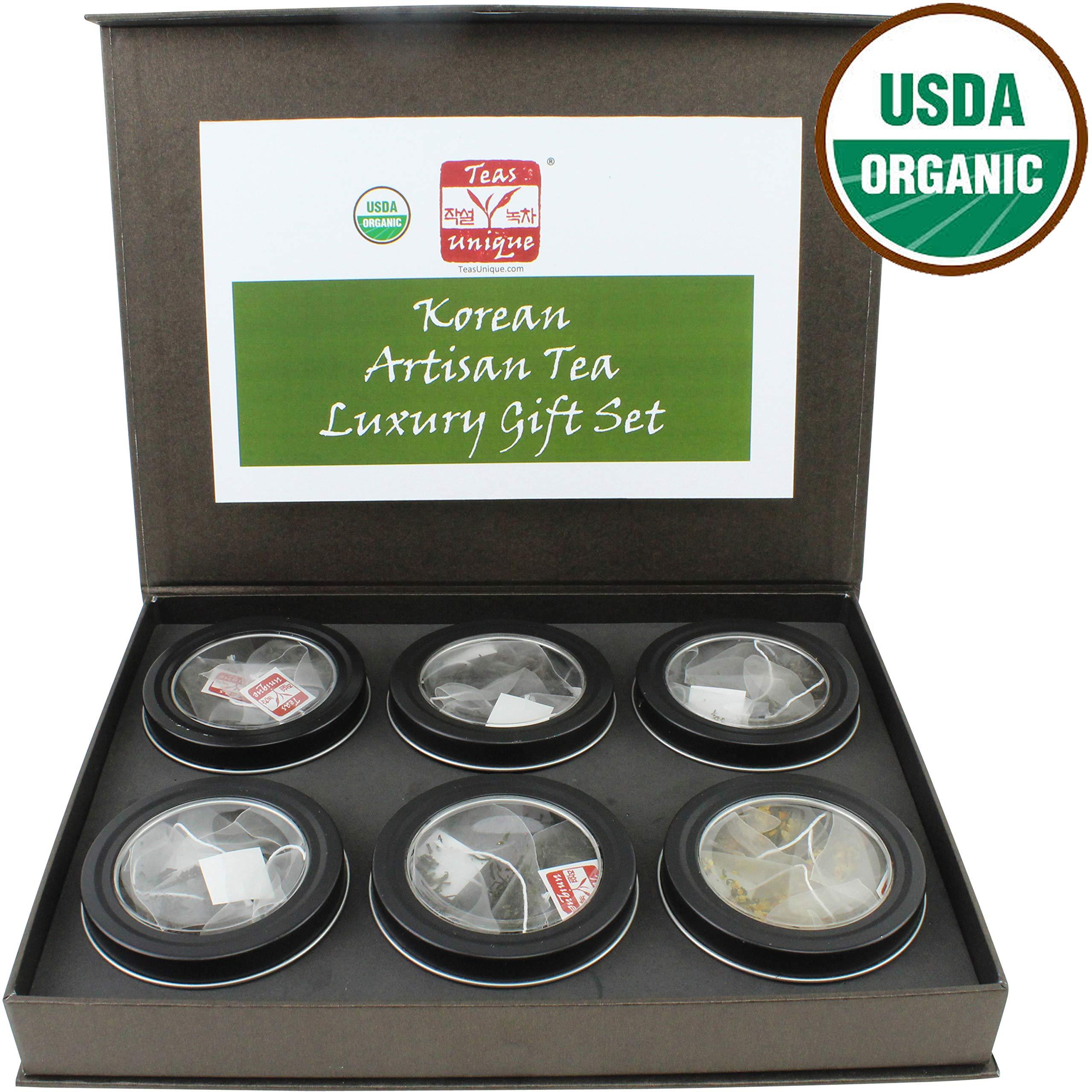 Teas Unique Korean Organic Green & Black Tea Luxury Box, 6 Teas in Bags, 60g