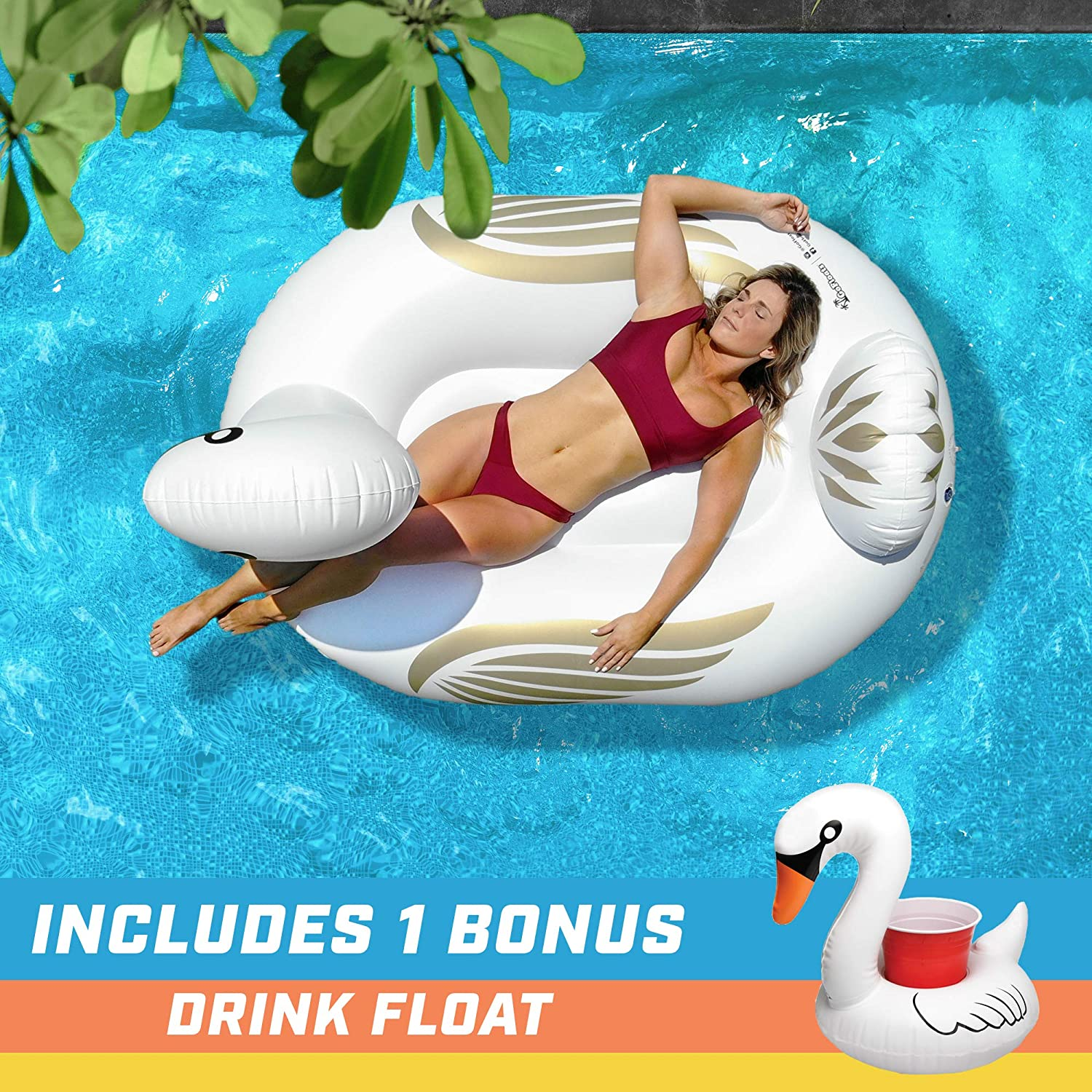 Amazon.com: GoFloats Giant Inflatable Swan Pool Float | Raft Includes Bonus Swan Drink Float | Fun for Kids and Adults: Sports & Outdoors
