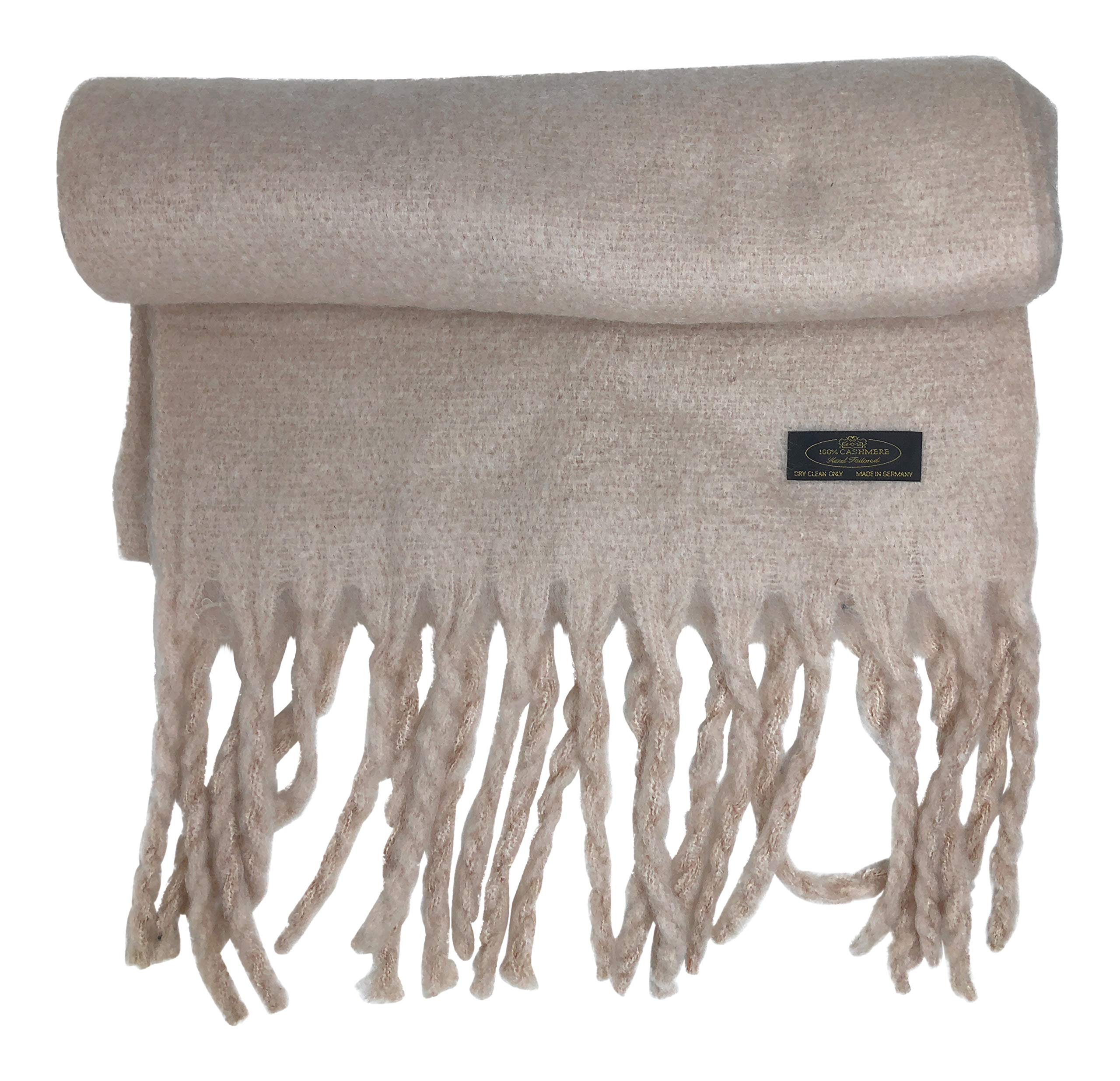 100% Pure Cashmere Large Thick Wooly Scarf 18'' x 80'' Long Tassels and Gift Bag (Ivory)