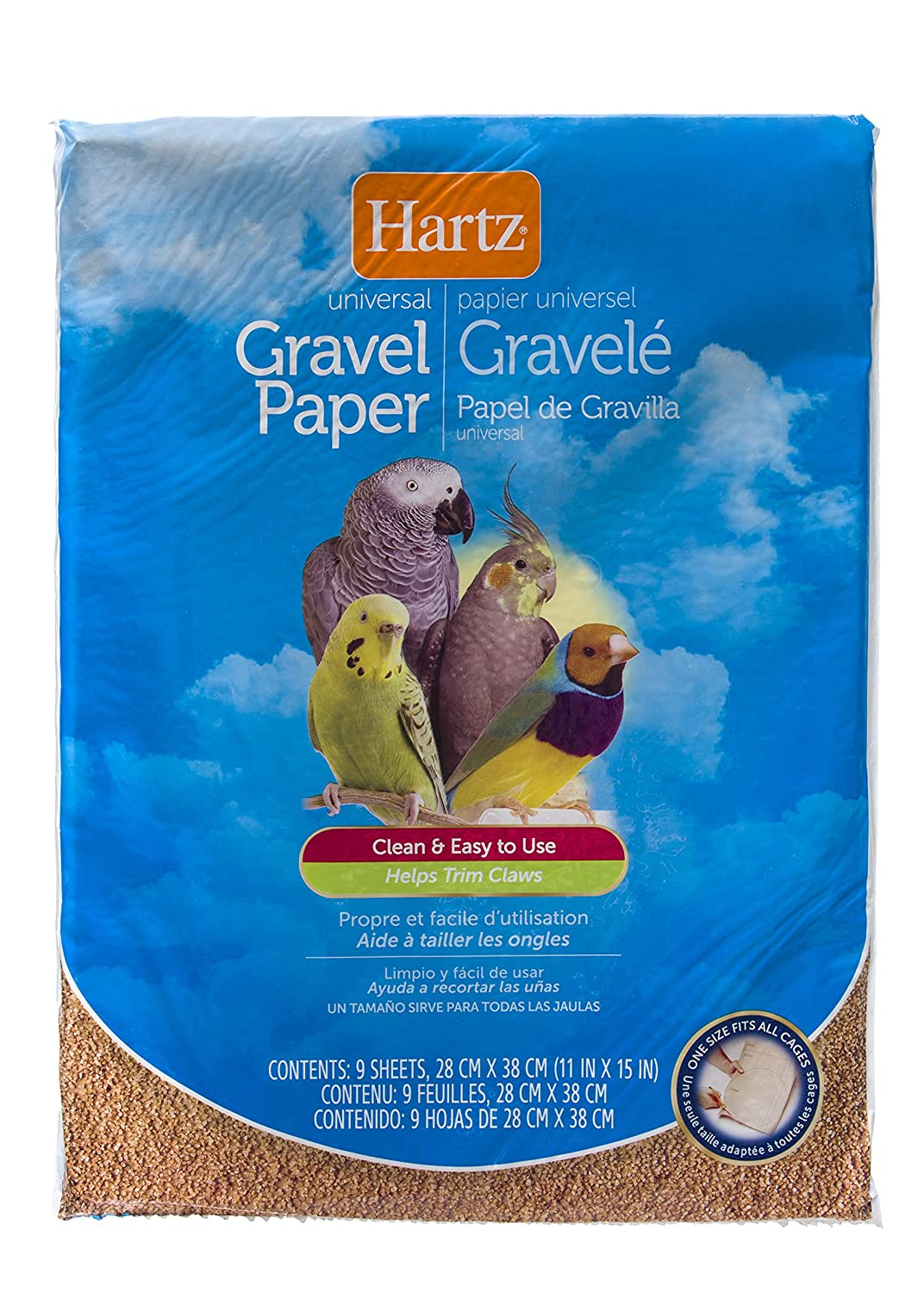 Hartz Universal Limestone Gravel Paper Bird Cage Liners - 9 Pack 3270098203