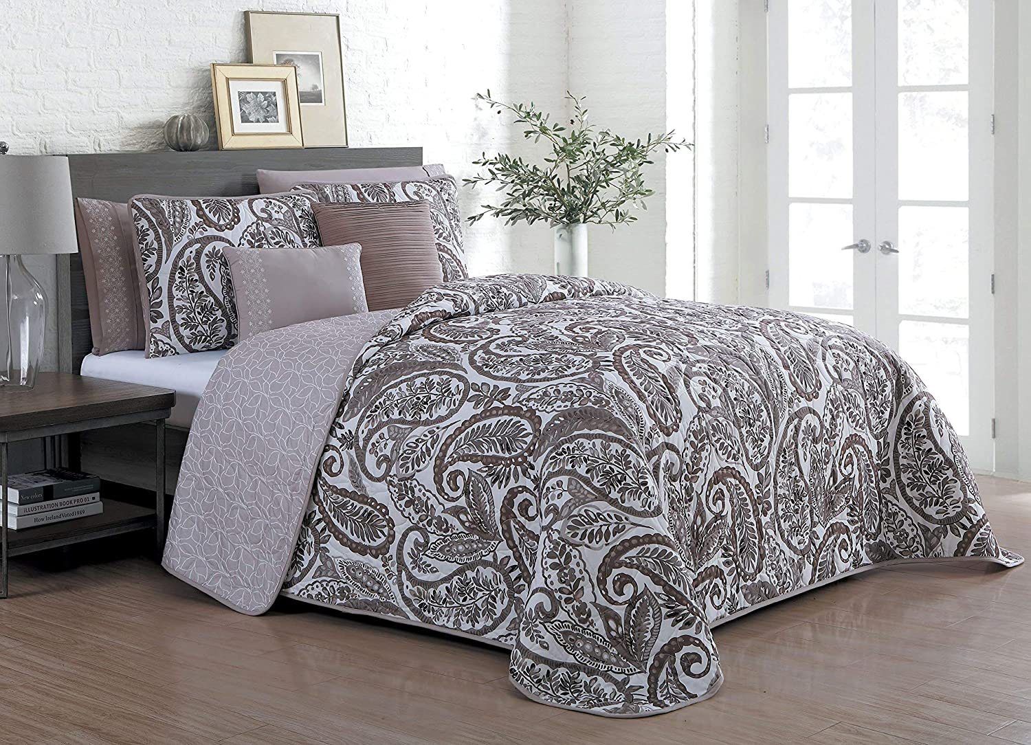 Avondale Manor Seville 7-Piece Comforter Set, King, Taupe