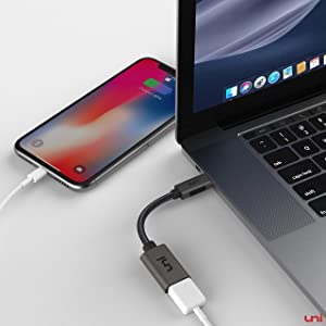 USB C to USB Adapter, uni USB Type C to USB 3.0 Adapter, Thunderbolt 3 OTG Cable Compatible for iPad Pro 2018, OnePlus 7 Pro, Galaxy S10 MacBook Pro, and More USB-C Devices - Gray