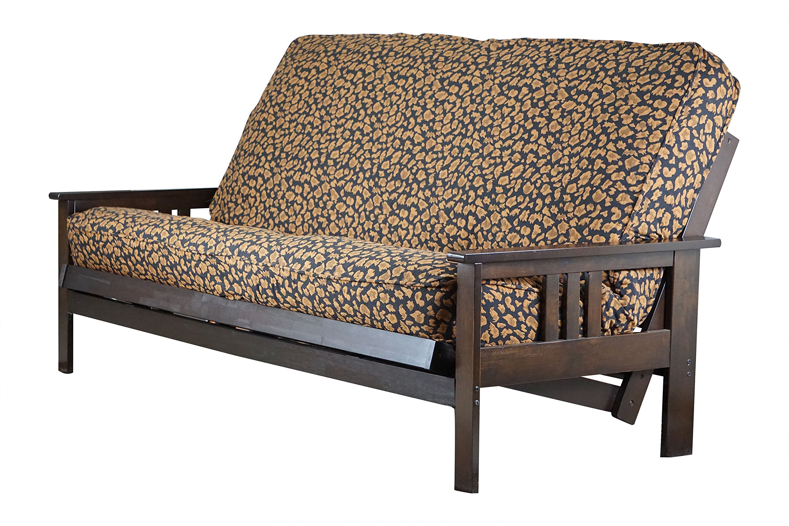 Java Futon Wood ''Frame and Mattress'' 8 Inch Innerspring with ''Removable Cover'' Sofa Bed Full Size (Frame w/ Animal Print Fabric Mattress)