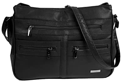 def464957908 Lorenz Large/Medium Size Faux Leather Handbag/Shoulder Bag with 7 Zip  Compartments & Double Zip Top and includes an exclusive Larissa & Co Cotton  ...