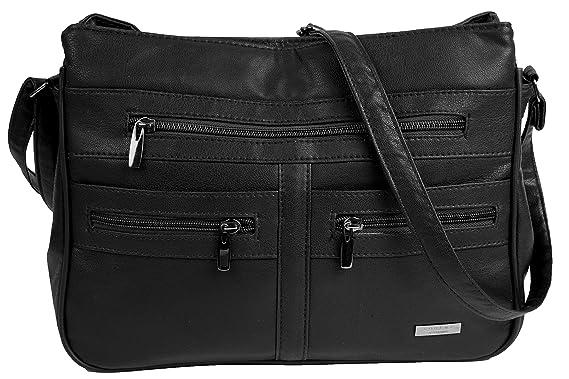 a722cac2e3 Faux Leather Handbag   Shoulder Bag with 7 Zip Compartments   Double Zip  Top (BLACK