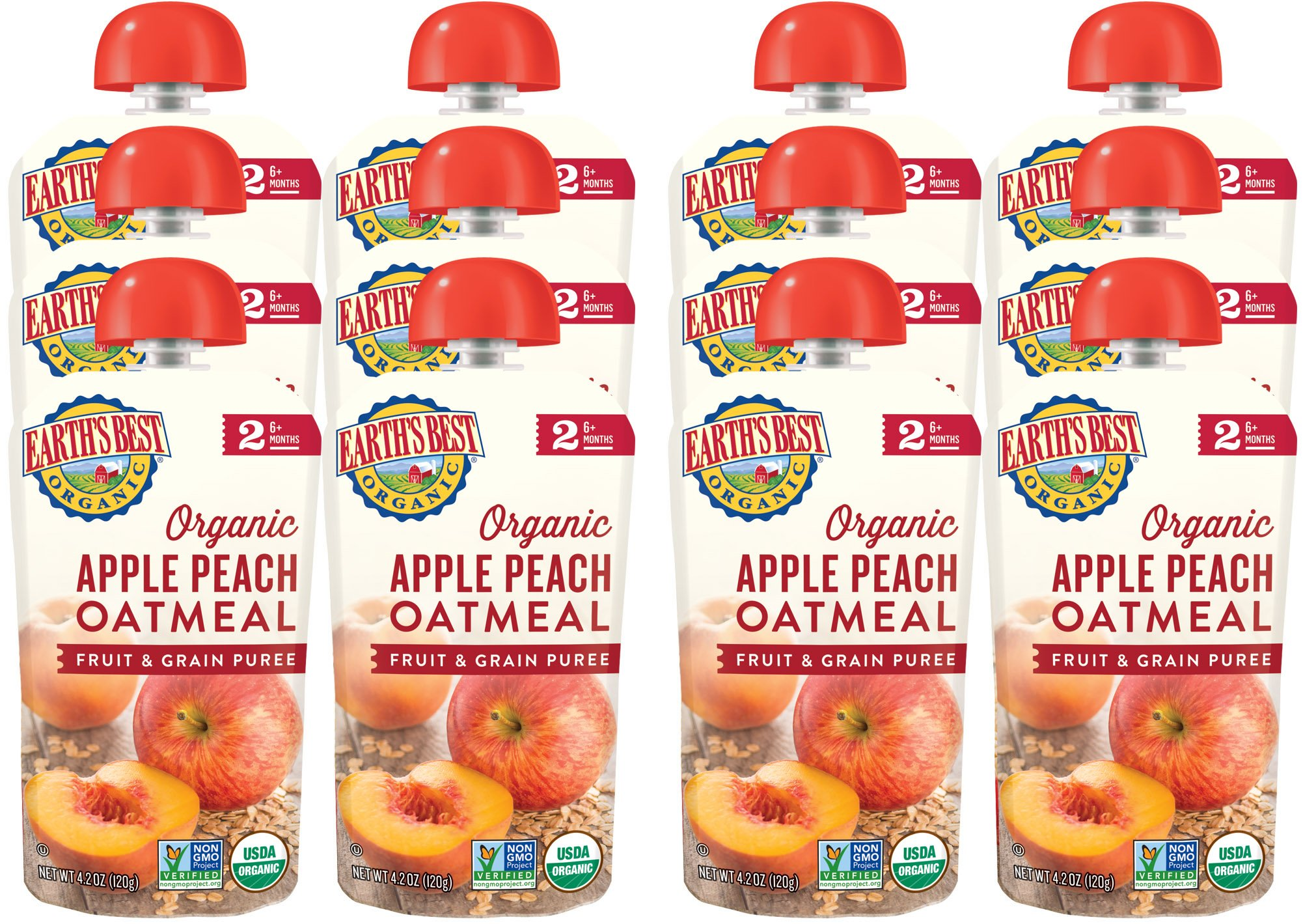 Earth's Best Organic Stage 2 Baby Food, Apple Peach and Oatmeal, 4.2 oz. Pouch (Pack of 12) by Earth's Best (Image #6)