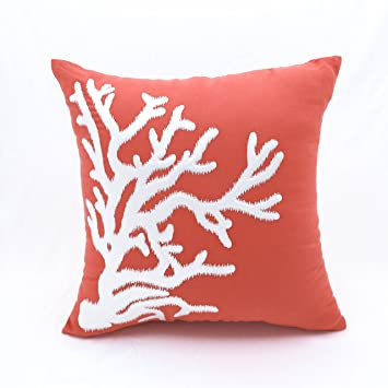 coral throw pillow cover orange cotton linen square embroidered couch cushion cover white nautical home decoration - Coral Decorative Pillows