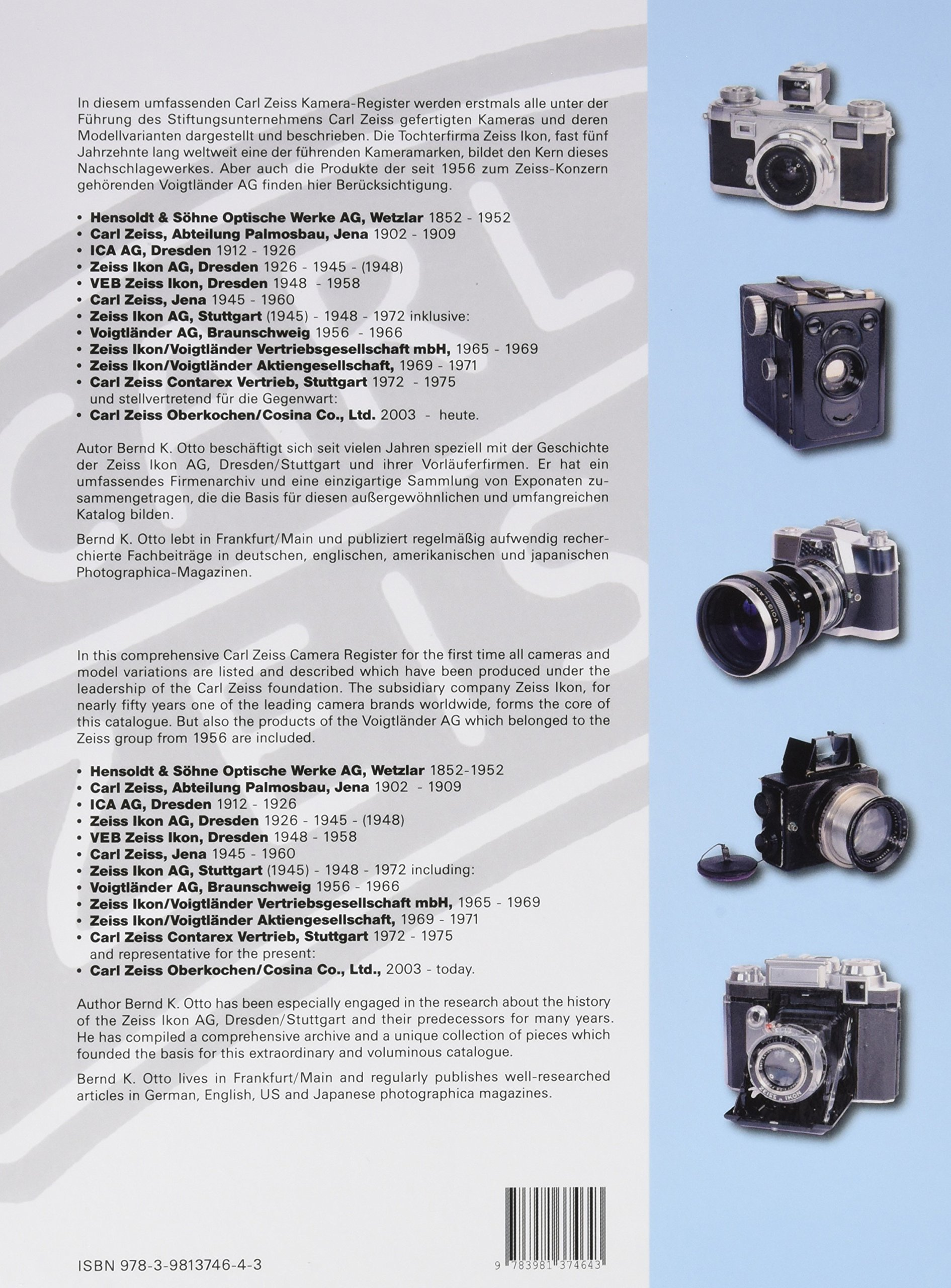 Zeiss: Kamera Register 1902 2012: Rudolf Hillebrand Bernd K. Otto:  9783981374643: Books   Amazon.ca