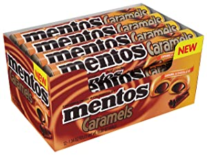 MENTOS CANDY ROLL, CARAMEL & CHOCOLATE, NON MELTING, 1.34 Ounce (Pack of 12)