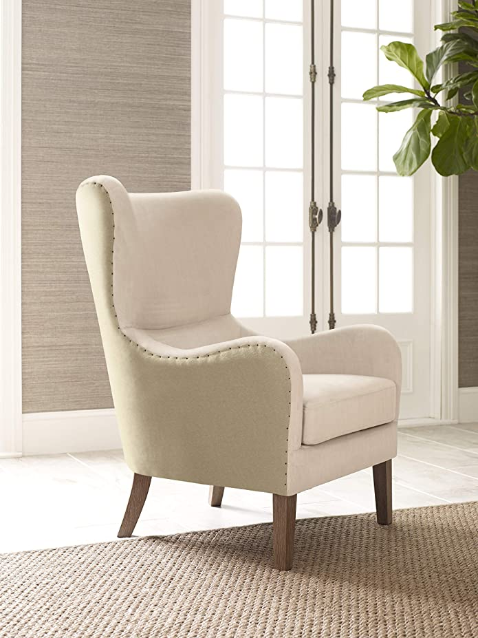 Olivet Two-Toned Wingback Chair Cream/Tan - Adore Décor