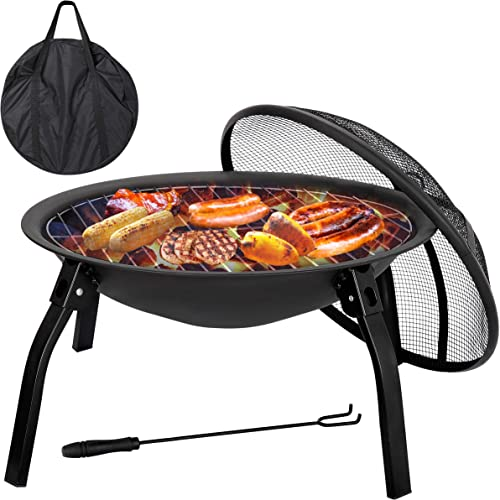 F2C 22 inch Folding Fire Pit Wood Burning Fireplace BBQ Grill Steel Round Bowl w/Mesh Spark Screen Cover Lid