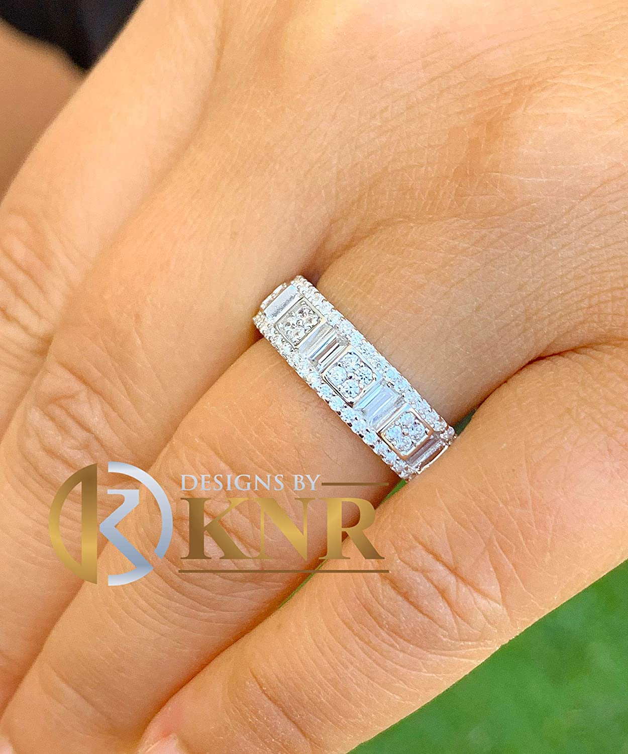 Eternity Style Solid Sterling Silver White Gold Finish With Round And Baguettes Cut Simulated Diamond Band Wedding Anniversary 3.00ctw 6.0mm