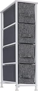 Ornavo Home 4 Drawer Narrow Tall Vertical Storage Dresser Tower-White Wood Top-Sturdy Metal Frame-Linen Fabric Storage Bins with Pull Tabs-Organizer Unit for Hallway,Entryway,Closets and Bedroom-Gray