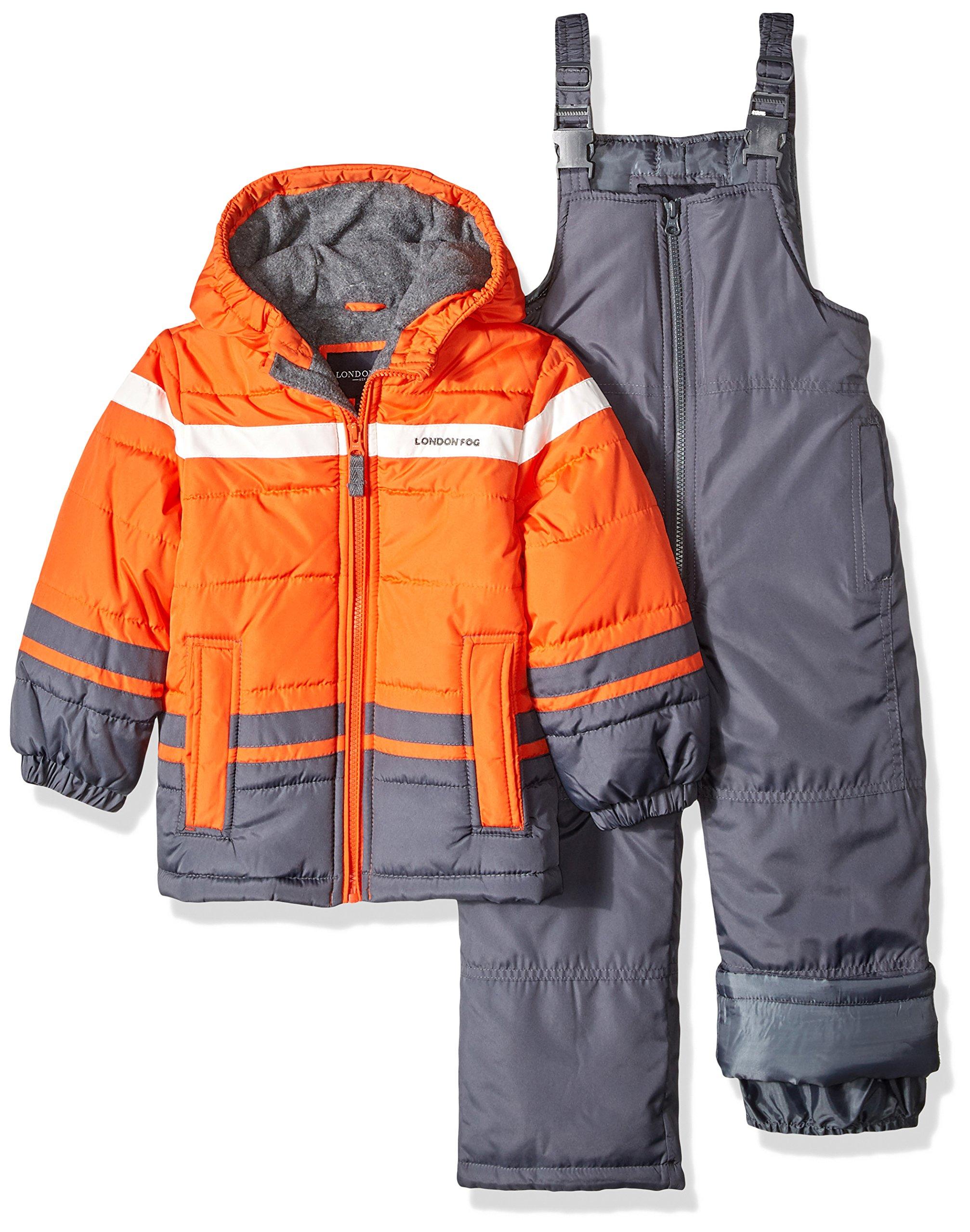 London Fog Boys' Toddler 2-Piece Snow Pant & Jacket Snowsuit, Orange, 2T by London Fog
