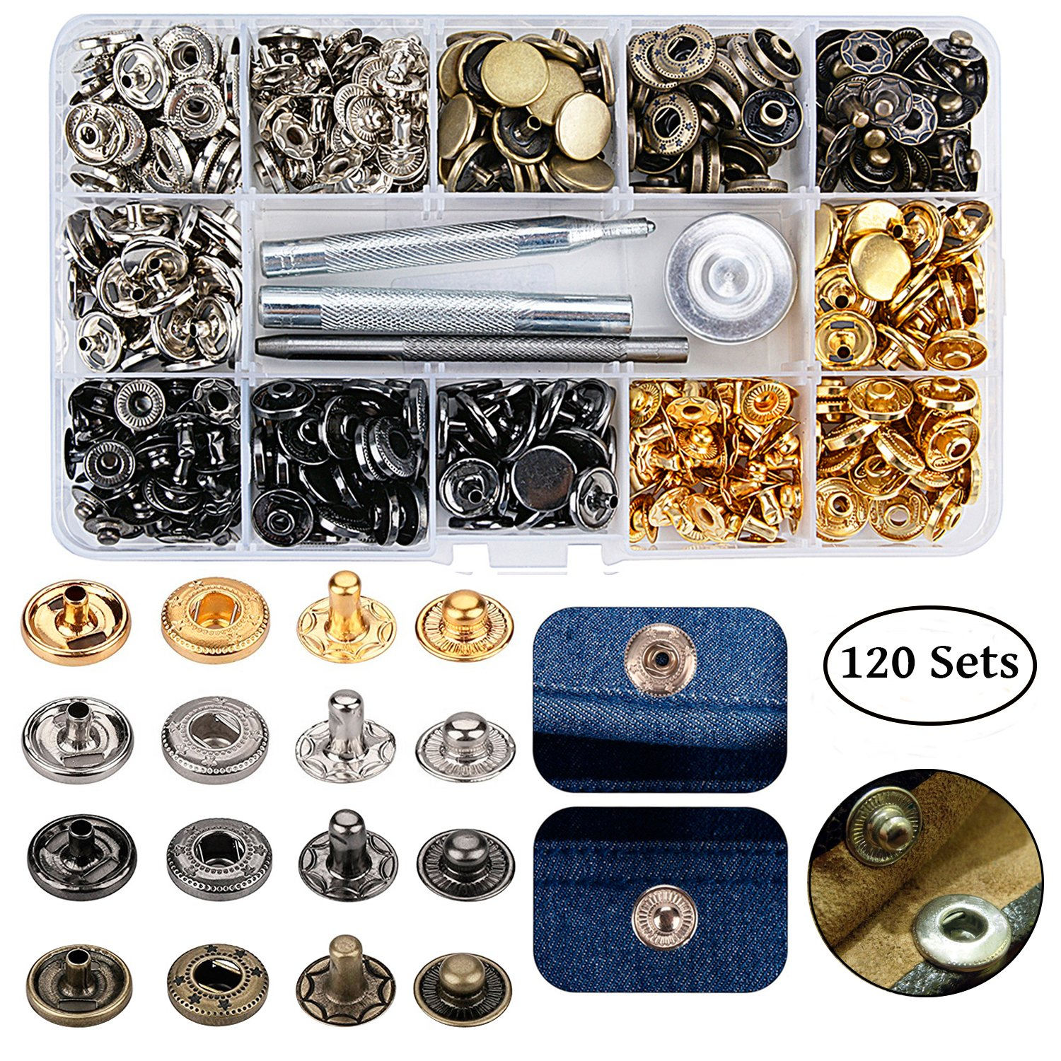 120 Sets Snap Fastener Kit, Outggek Leather Snap Buttons Press Studs with 4PCS Fixing Tools, Metal Snaps for Clothing Leather Bracelet Jeans Wear Jacket Bags Belts, 633(12.5mm) by Outgeek