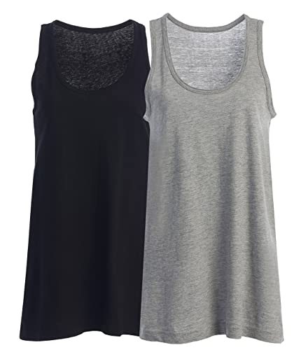 Loose Fit Relaxed Flowy Knit Tank Top for Women and Juniors w EttelLut Hair Band