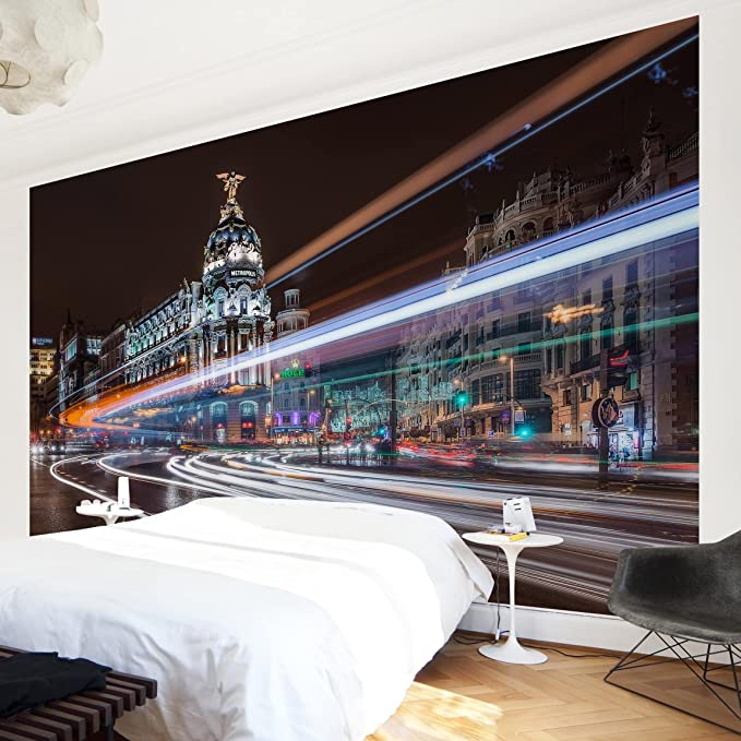 Amazon.com: Non-Woven Wallpaper Premium Madrid Traffic Wide ...