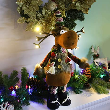 Amazon Com Houwsbaby Handmade Plush Christmas Elk Figurines Light Up Decor Led Reindeer Glowing Home Desktop Collectible Holiday Supplies Table Ornament Gift For Kids Brown 15 5 Standing Toys Games