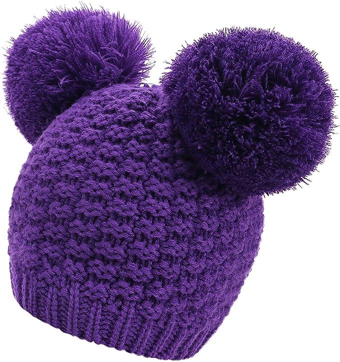 Fitted Cap Lavender Handmade Crochet Single Pom Pom **Adult Size**  Beanie W Pom Poms TYS Logo