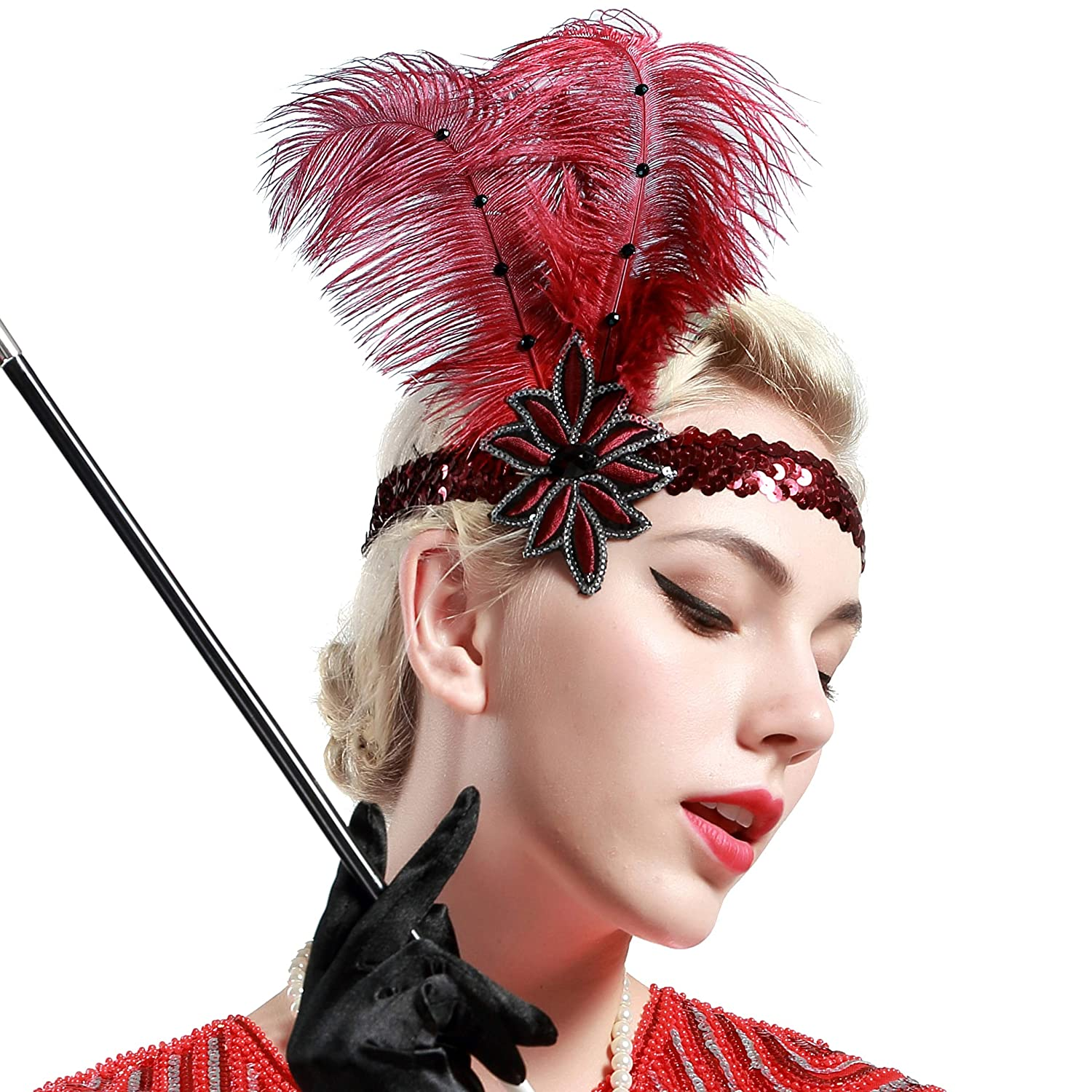 Red Feather Showgirl Headdress