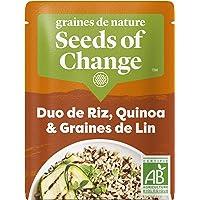 SEEDS OF CHANGE Riz Complet Quinoa & Lin Certifié Bio Cuisson 2 Min Micro-Ondable 240 g