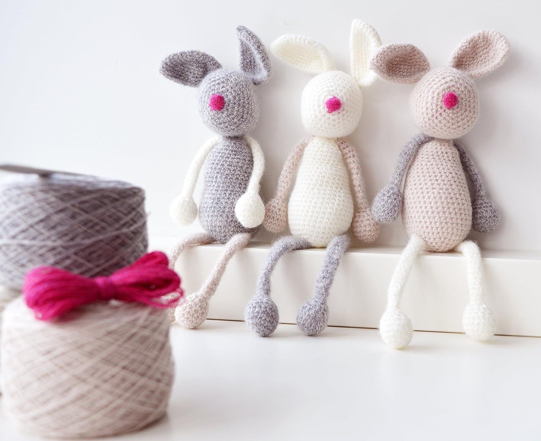 Kit para tejer de ganchillo, diseño de conejo familia, Amigurumi Kit ...