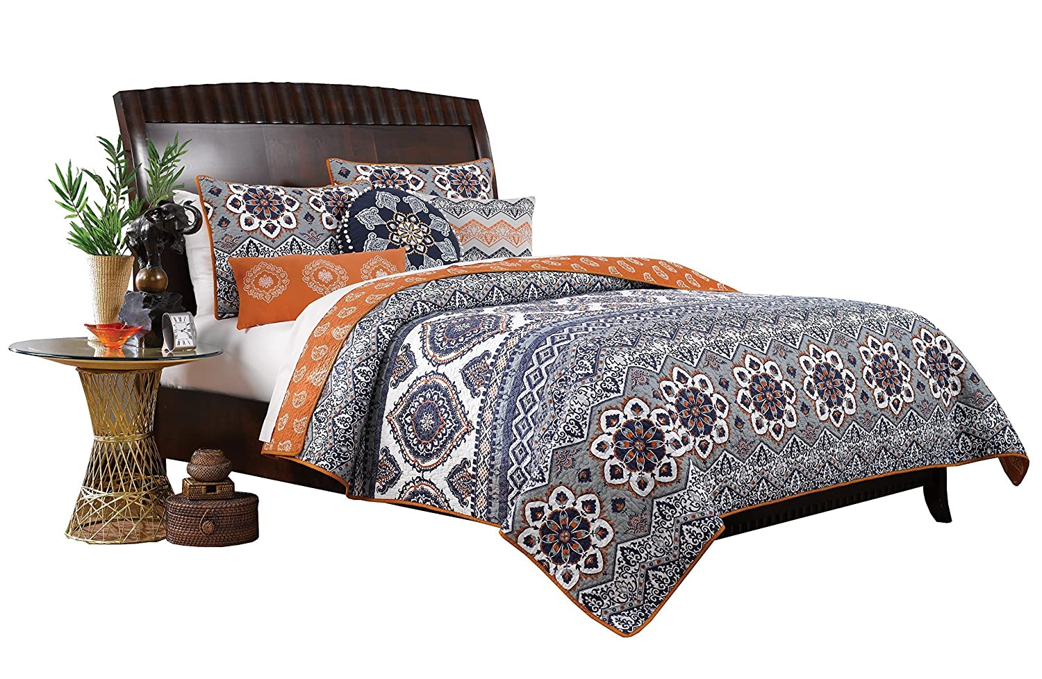 Greenland Home 3 Piece Medina Quilt Set, King, Saffron