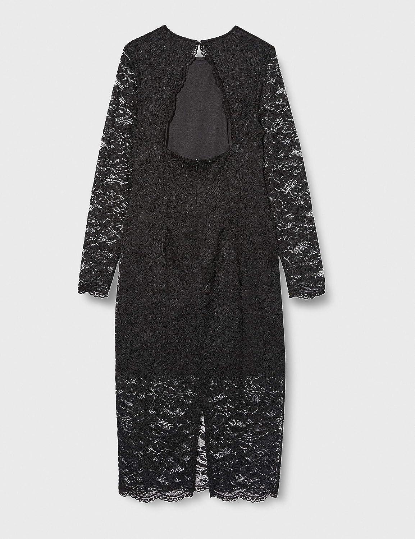 Amazon Brand - TRUTH & FABLE Women's Midi Lace Bodycon Dress Black