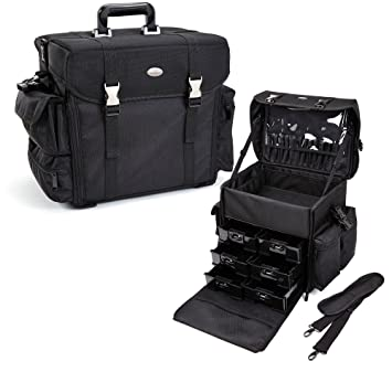 professional makeup bag. seya beauty soft-sided nylon, carry on professional makeup case w/ removable drawers bag