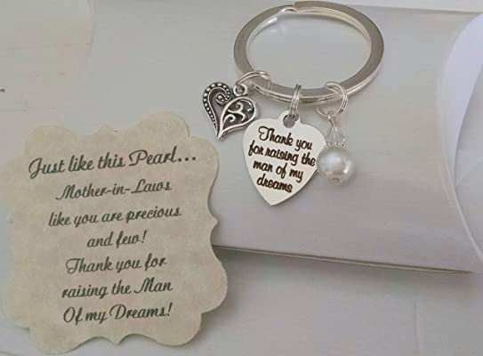 Mother In Law Gift, Mothers Day Gift for Mother In Law, Mother Of The Groom Gift From Bride, Thank You For Raising The Man Of My Dreams, Mother of Groom, Pearl KEYCHAIN, Charm is Size of a Nickel