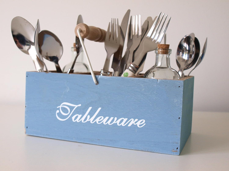 Soporte para cubiertos, estilo retro, de madera, para utensilios de cocina, cuchillos, tenedores y cucharas, color azul Soporte para cubiertos con asa de ...