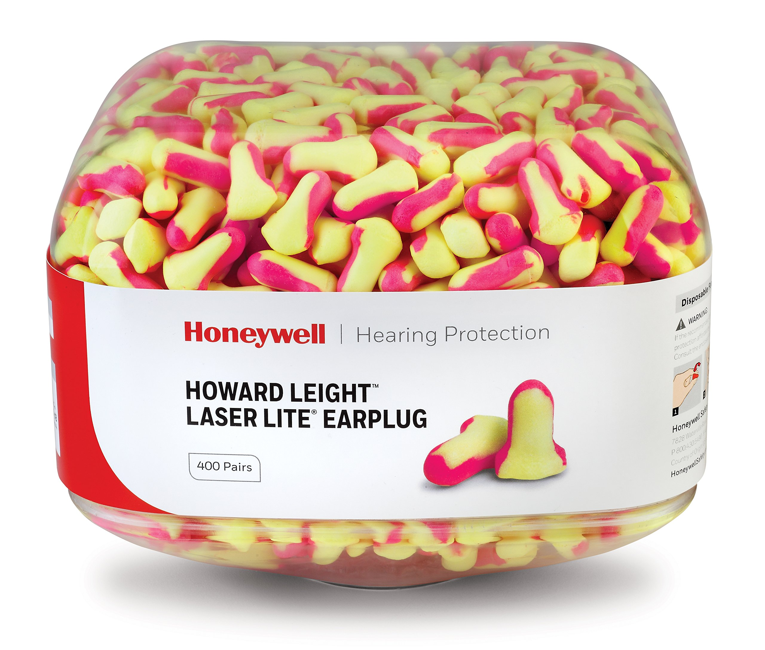Howard Leight Laser Lite Hi-Visibility Earplug Refill for HL400 Dispenser, 800 Pairs (Two 400-Pair Canisters), NRR 32 (HL400-LL-REFILL)