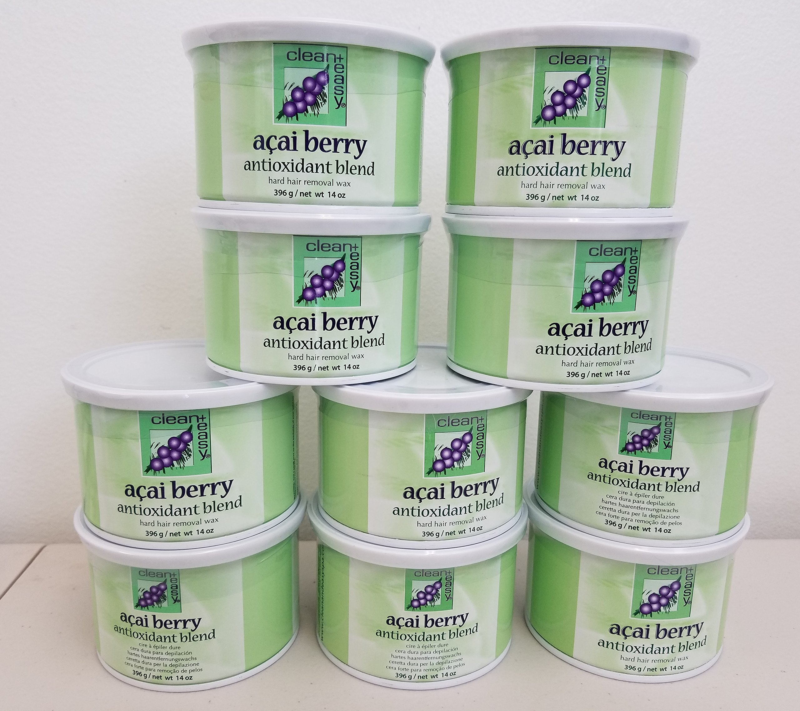 Clean + Easy Hard Wax, Acai Berry, 14 Ounce (Pack of 10)