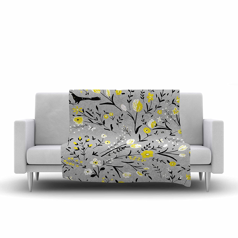 40 x 30 Kess InHouse Laura Nicholson Blackbirds On Gray Gray Yellow Fleece Throw Blanket