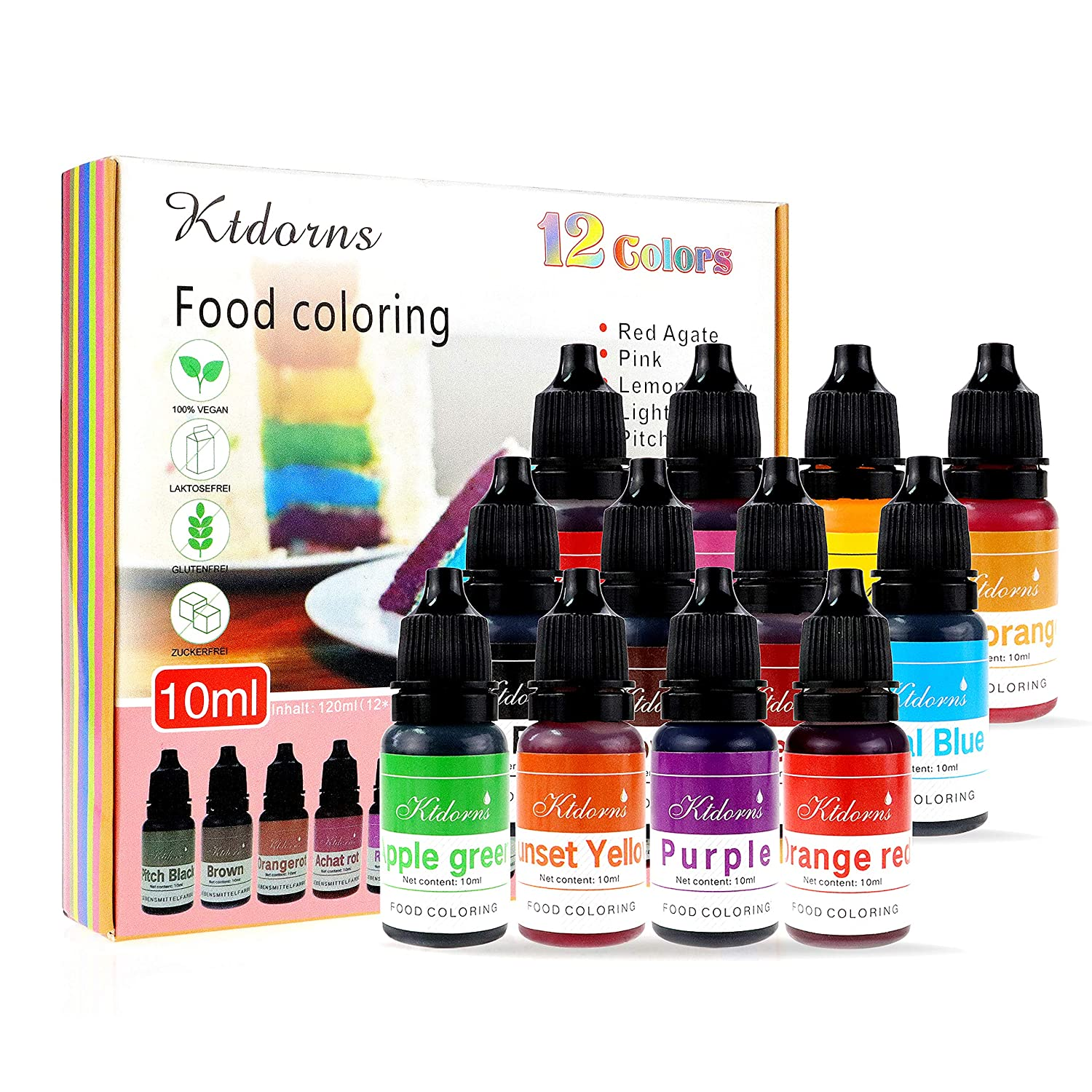 Food Coloring - 12 Color cake food coloring liquid Variety Kit for Baking, Decorating,Fondant and Cooking, Slime Making Supplies Kit - .38 fl. oz. (10ml) Bottles