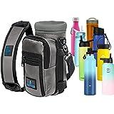 Water Bottle Holder Carrier - Bottle Cooler w/Adjustable Shoulder Strap and Front Pockets - Suitable for 16 oz to 25oz Bottle