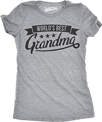 9801da787 Womens Wiorlds Best Grandma Tshirt Funny Mothers Day Grandmother Tee for  Ladies -S Heather Grey