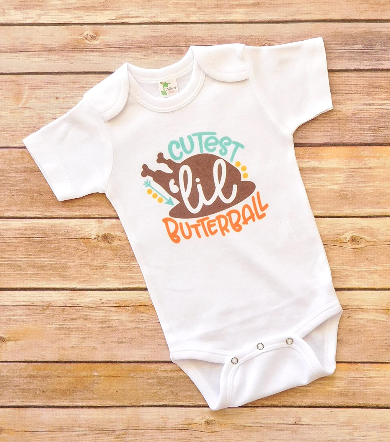 6-12 Months, Thanksgiving Baby Bodysuit - Cutest Butterball - Baby Shower Present